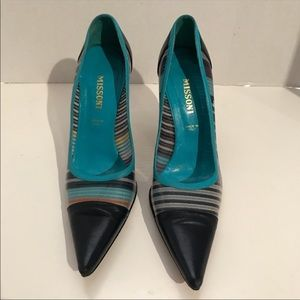 Missoni Italian leather pointed heels sz 6.5